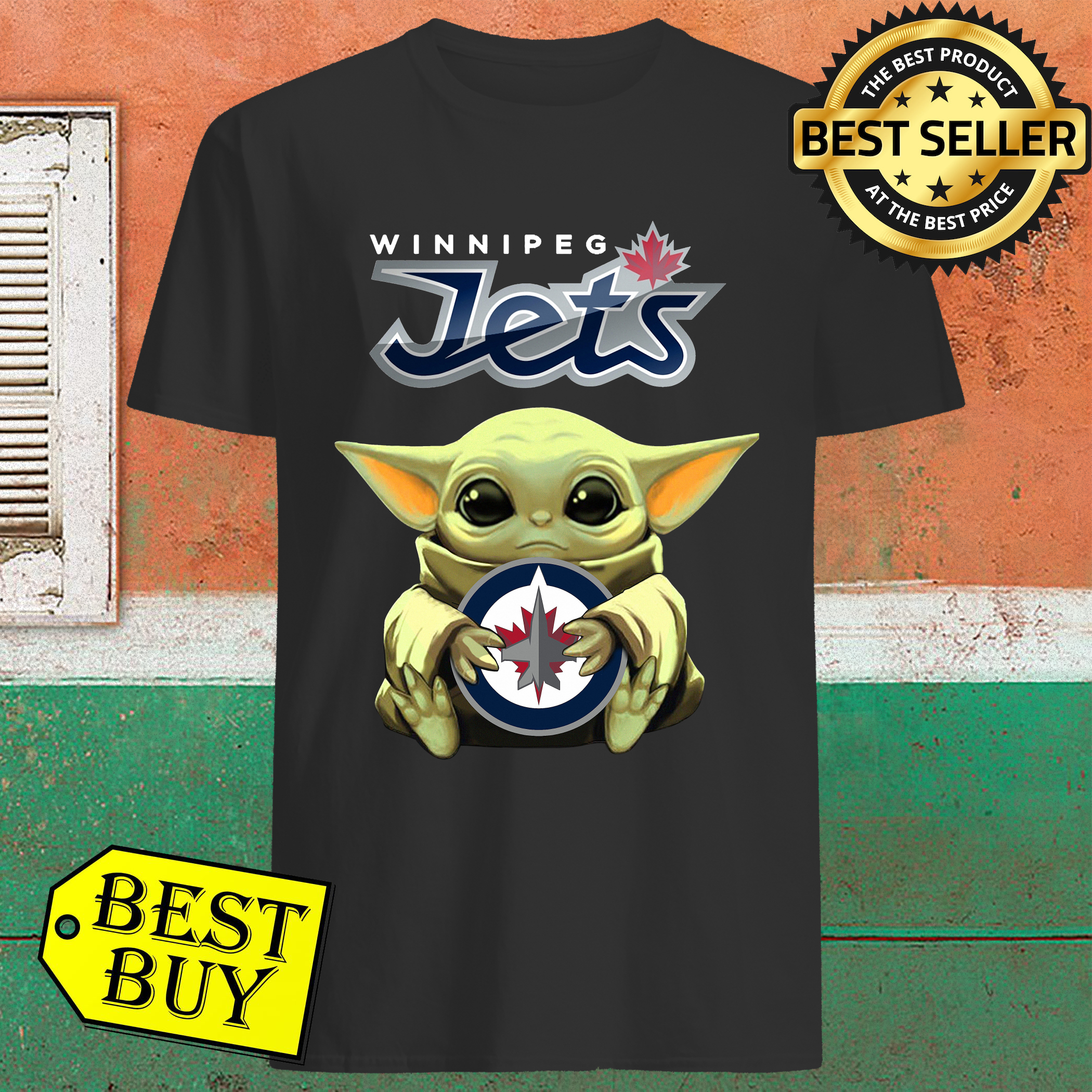 Baby Yoda Hug Winnipeg Jets Shirt