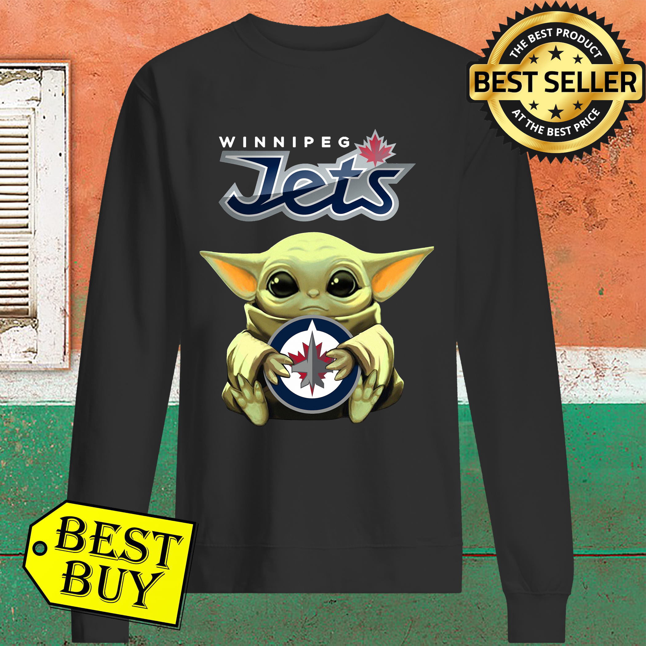Baby Yoda Hug Winnipeg Jets Sweater