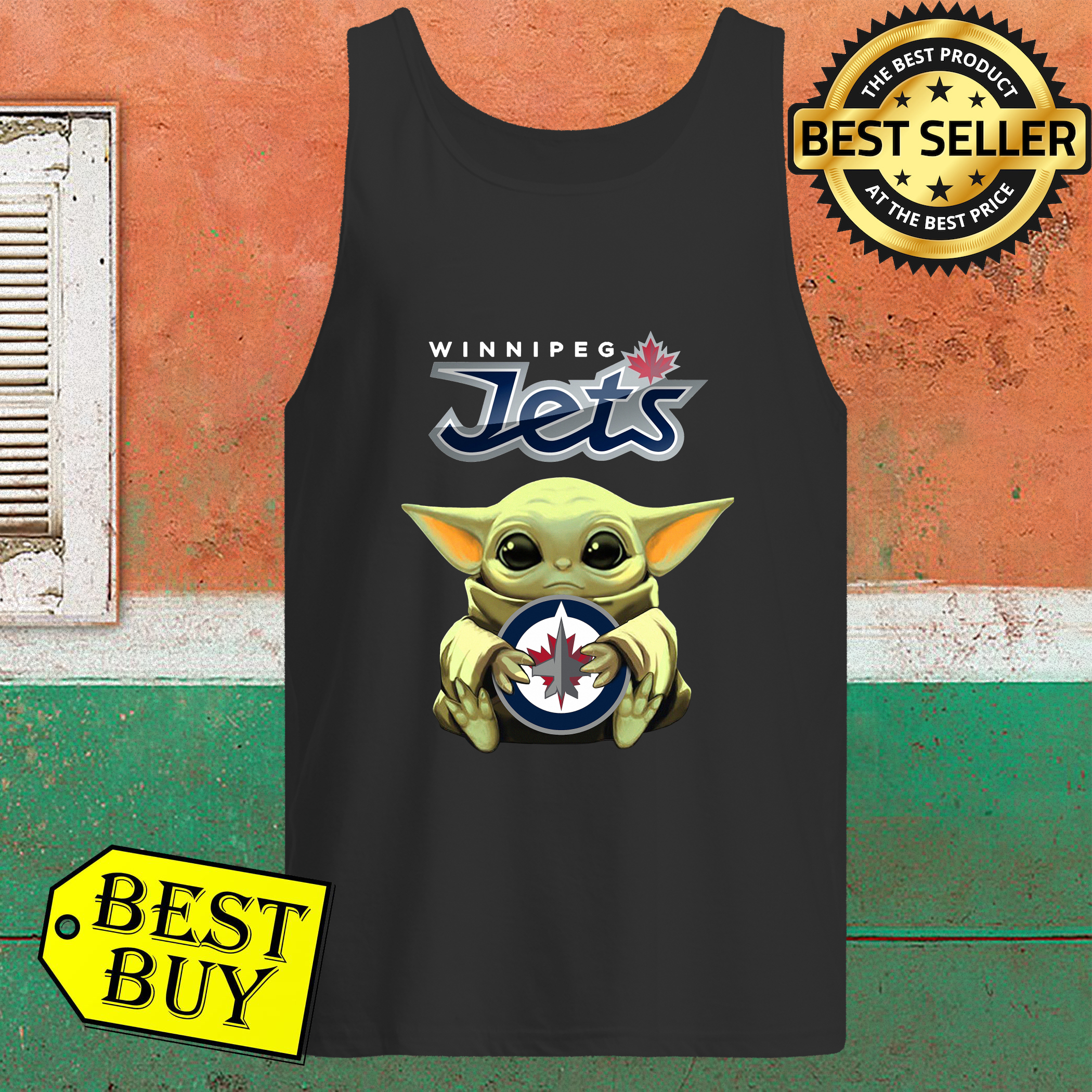 Baby Yoda Hug Winnipeg Jets Tank Top