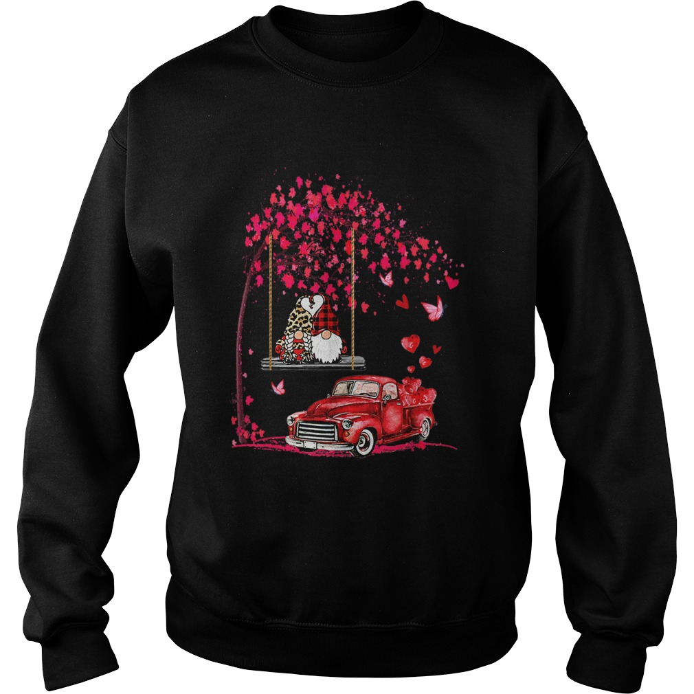 Gnomes Red Truck Tree Valentines Day  Sweatshirt