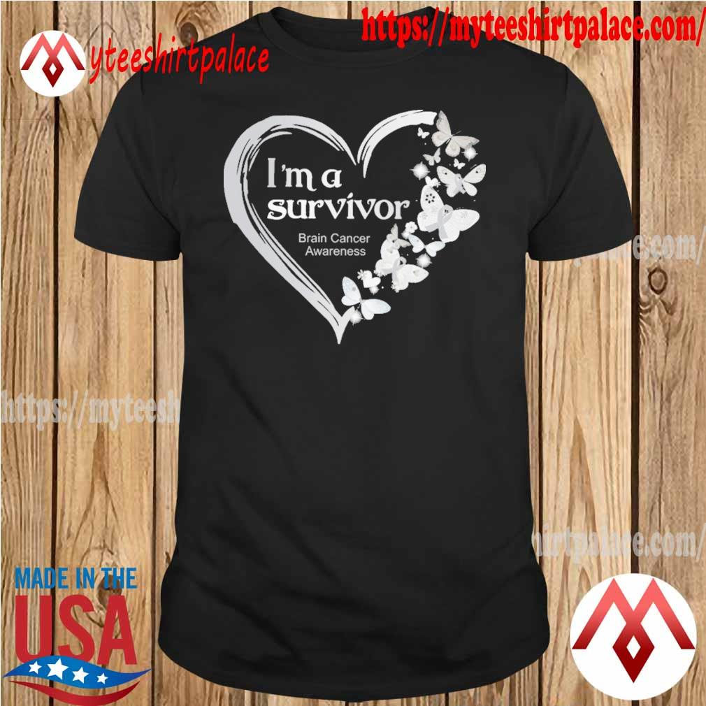 Official Heart Butterflies Blue I'm A Survivor Brain Cancer Awareness shirt