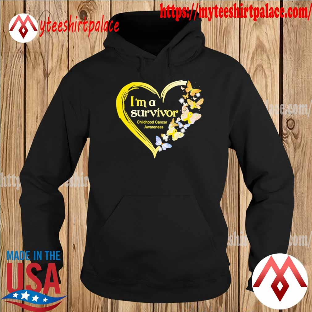 Official Heart Butterflies Blue I'm A Survivor Childhood Cancer Awareness s hoodie