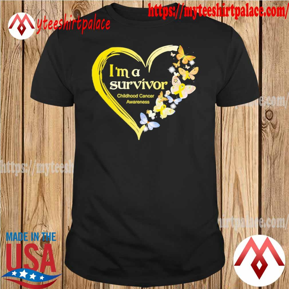 Official Heart Butterflies Blue I'm A Survivor Childhood Cancer Awareness shirt