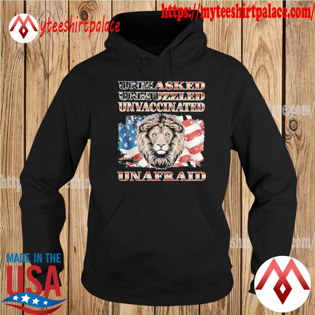 Official Lion Unmasked Unvaccinated Uninfected Unafraid American flag s hoodie
