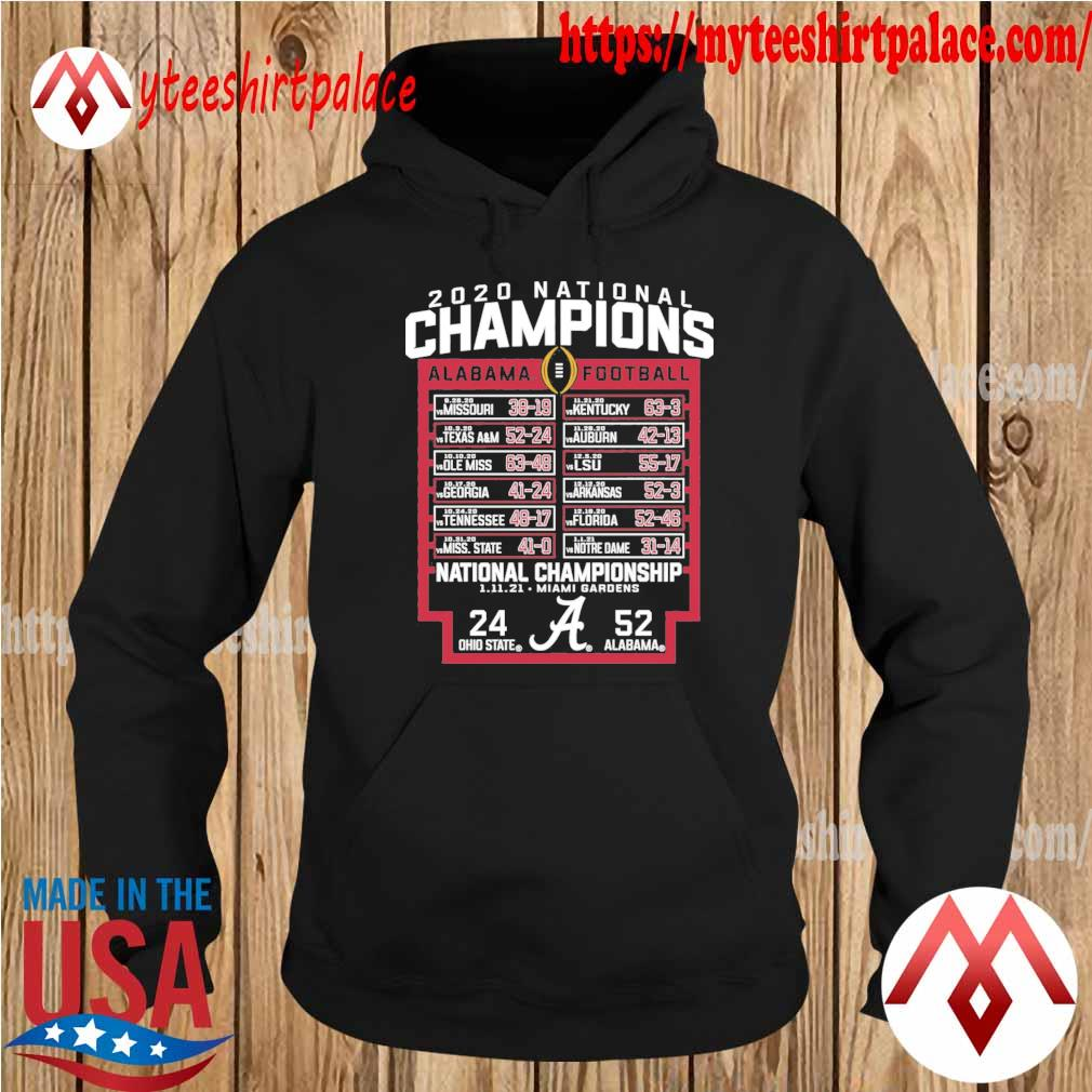 Alabama Crimson Tide Blue 84 College Football Playoff 2020 National Champions Schedule s hoodie