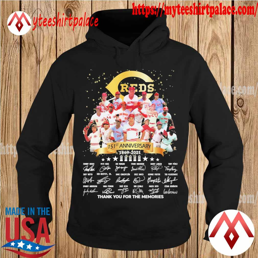 Cincinnati Reds 151st anniversary thank you for the memories signatures s hoodie