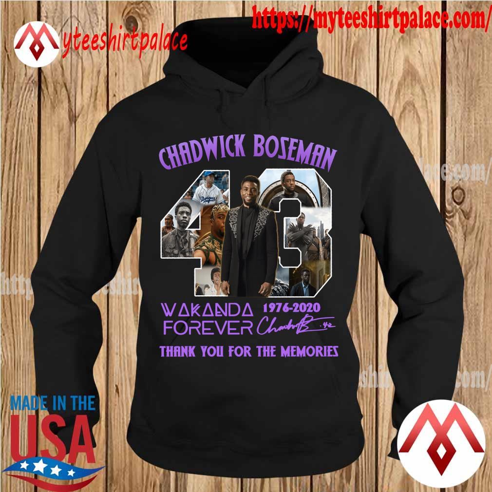 Oficial Chadwick Boseman 43 year 1976 2020 Wakanda forever thank you for the memories signature purple s hoodie