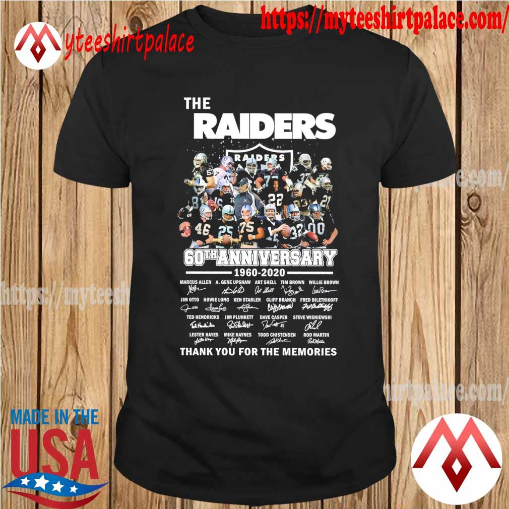 The Raiders 60th anniversary 1960 2020 thank you for the memories sognatures shirt