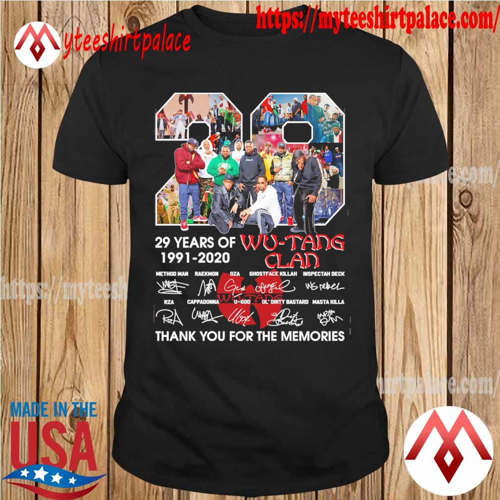 Wu Tang Clan 29 years of 1991 2020 thank you for the memories signatures shirt